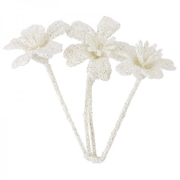 Deko-Blüten, Frosty 9, 30g, weiß mit Glitzer