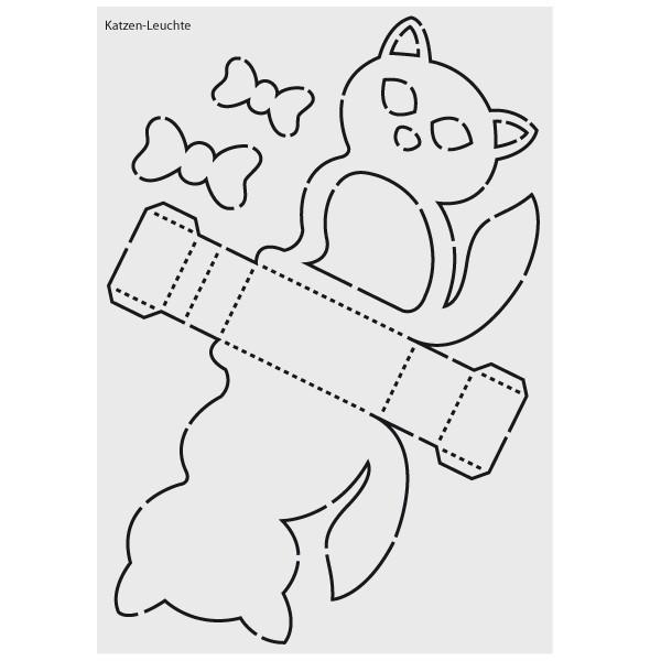 """Design-Schablone Nr. 3 """"Katzen-Leuchte"""", DIN A4"""