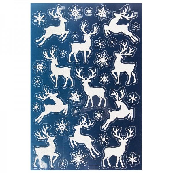 Glimmer-Relief-Sticker, Hirsche, weiß-irisierend, 21x14cm