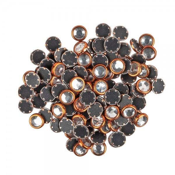 Hot-Fix Glas-Kristalle zum Aufbügeln, Ø 5mm, orange, 100 Stück