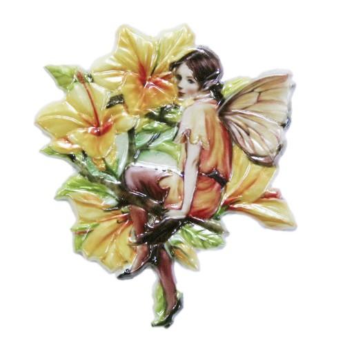 Wachsornament Elfe 8, farbig, geprägt, 7 x 7 cm