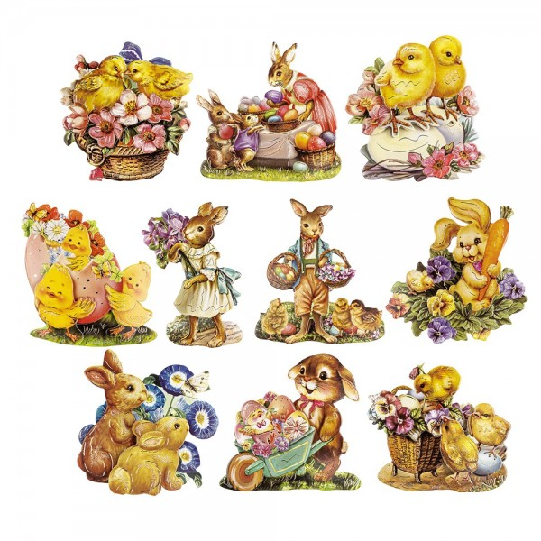 3-D Motive, Ostern, Gold-Gravur, 5,5-8cm, 10 Motive
