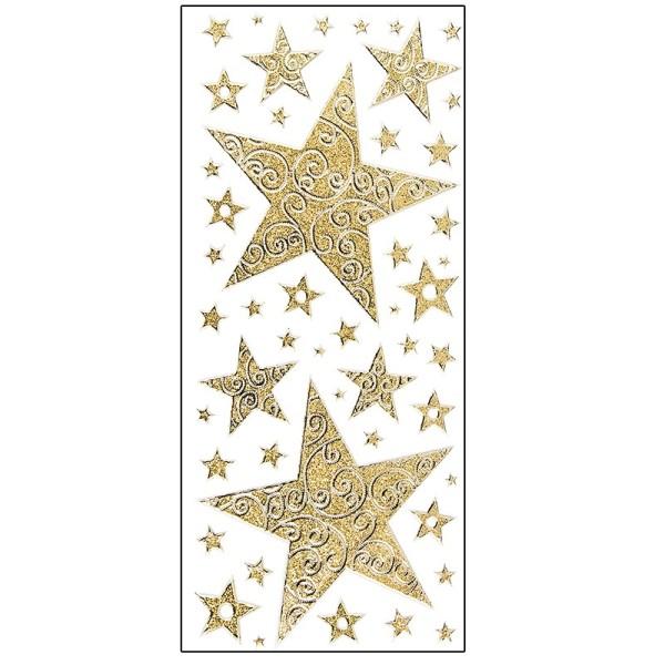 Microglitter-Sticker, Sterne mit Schnörkel-Ornamentik, gold