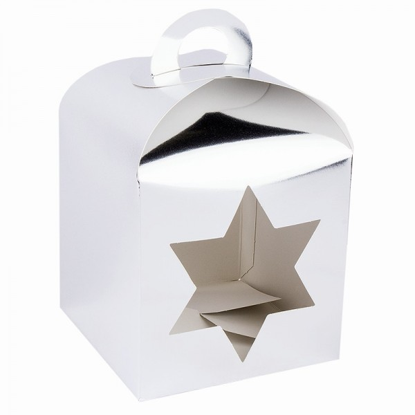 Faltboxen mit Stern-Ausstanzungen, geklebt, 11,5cm x 11,5cm x 11,5cm, Spiegelkarton, silber, 10 Stüc