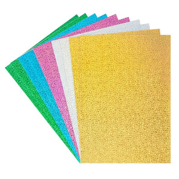 Moosgummi, selbstklebend, Holografie-Effekt, DIN A4, 2mm, verschiedene Farben, 10 Bogen