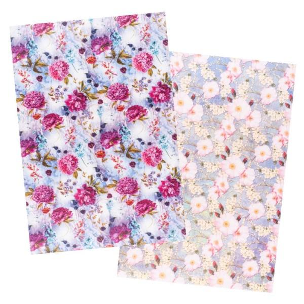 Reispapiere, Blüten 18, DIN A4, 30g/m², 2 verschiedene Designs
