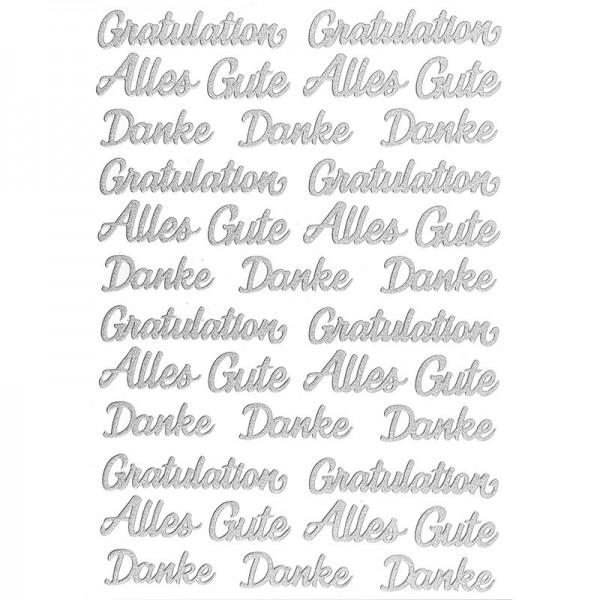 """3-D Sticker, Deluxe Schriften """"Gratulation"""", verschiedene Größen, selbstklebend, silber"""