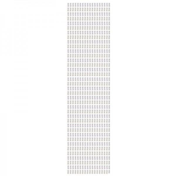 Schmuckstein-Bordüren, selbstklebend, facettiert, irisierend, 29cm, Schleifen, weiß