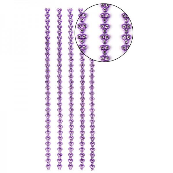 """Premium-Schmuck-Bordüren """"Strass-Trio"""", selbstklebend, 29cm, mit Glas-Kristallen, violett"""