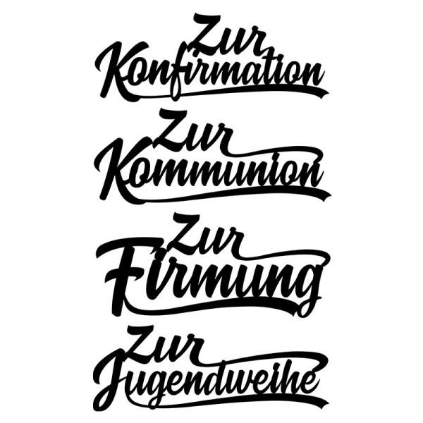 Stanzschablonen, Schriften, Anlässe 1, 3,3 cm bis 8,5 cm, 4 Stück
