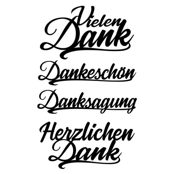 Stanzschablonen, Schriften, Danke, 2,2cm bis 8,5cm, 4 Stück