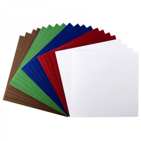 Karteneinleger, 10,5cm x 10cm, kräftige Farbtöne, 20 Stück