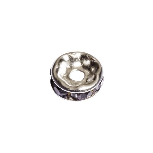 Strass-Rondell mit Strass-Steinen, Ø0,8 cm, 10 Stück, silber/tansanit