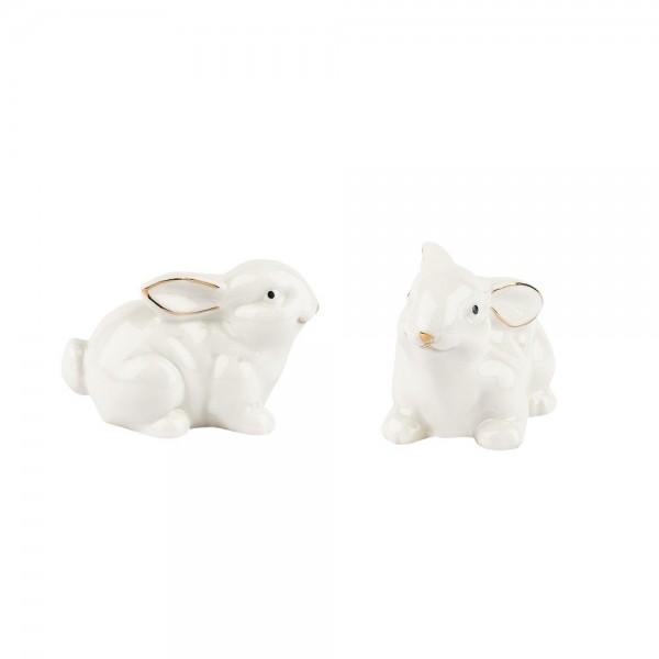 Porzellan-Figuren, Hasen, 6,5cm x 4,5cm x 4,1cm, weiß, mit Goldverzierung, 2 Stück