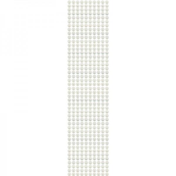 Halbperlen-Bordüren, selbstklebend, Ø6mm, 29cm, 10 Stück, creme-irisierend
