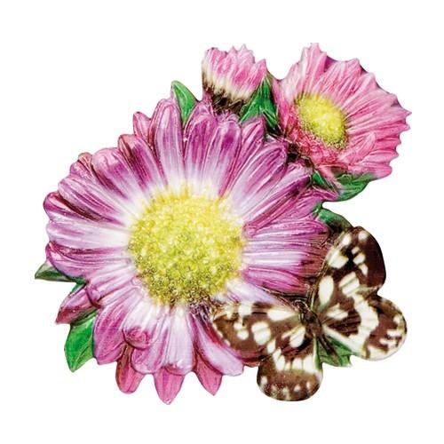 Wachsornament Blumen & Schmetterlinge 6, farbig, geprägt, 7cm