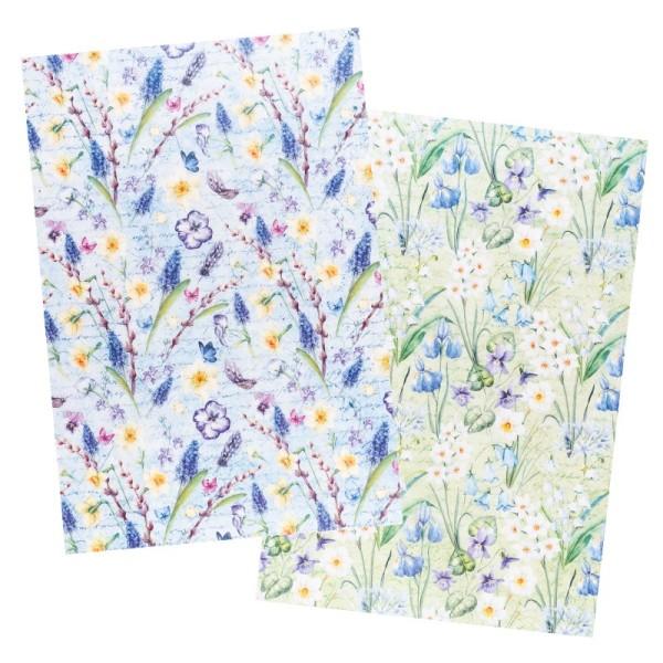 Reispapiere, Blüten 19, DIN A4, 30g/m², 2 verschiedene Designs