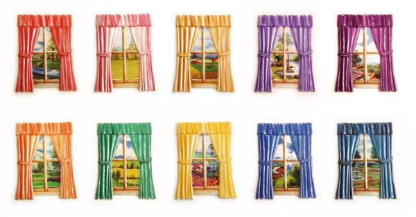 Wachs-Ornamente, Fester mit Vorhang und Landschaft, farbig