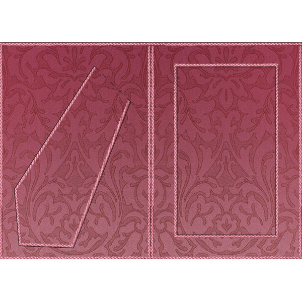 Bilderrahmen-Karte, Blütenornamentik III, B6, rot/pink