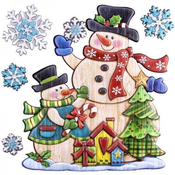 Relief-Sticker in Holzoptik, Schneemänner, 18cm x 17,5cm