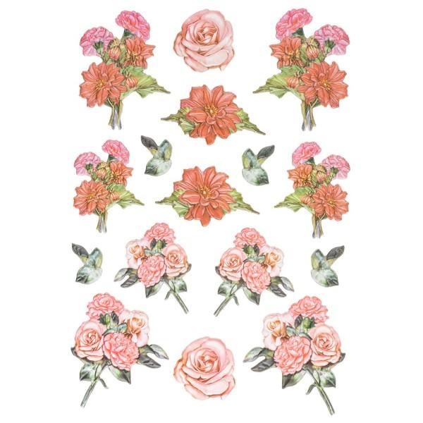 3-D Relief-Sticker, Nelken-Sträuße 1, 21cm x 30cm, verschiedene Größen, selbstklebend