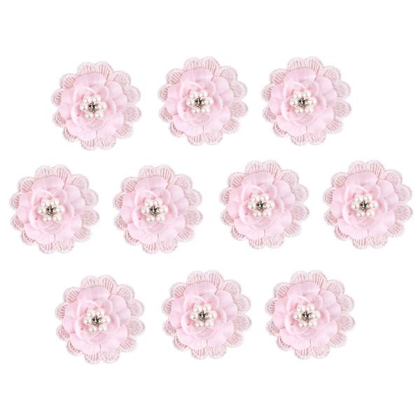 Spitzen-Blüten, mit Perlen, Ø 5cm, rosa, 10 Stück