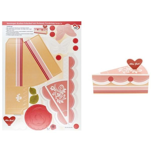 Stanzbogen, Kuchen-Schachteln, Design 2a, DIN A4, 12 Stück
