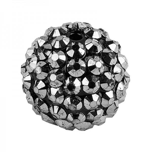 Kristall-Perlen, Ø 14mm, anthrazit, 10 Stück