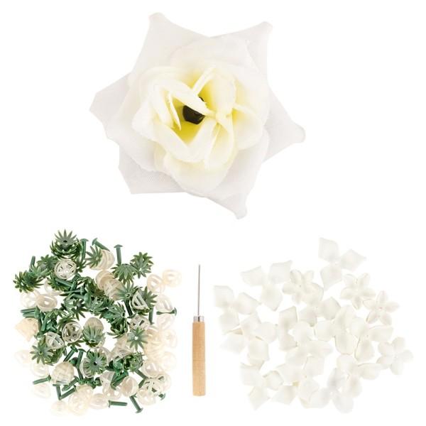 Deko-Blüte Rose, zum Selbstgestalten, weiß, 501-teilig, 50 Stück