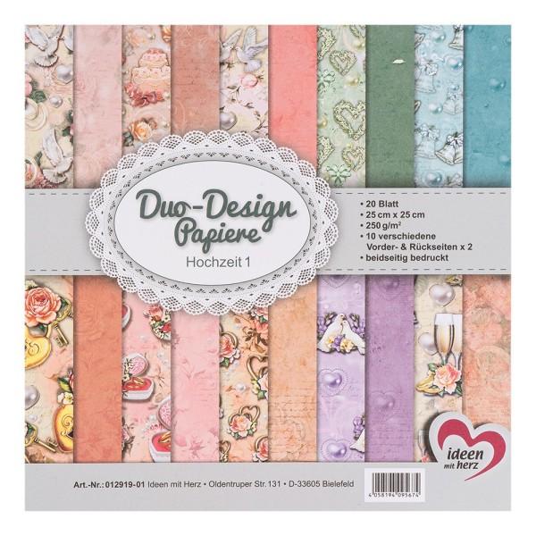 Duo-Design-Papiere, Hochzeit 1, beidseitig bedruckt, 25cm x 25cm, 250g/m², 20 Blatt