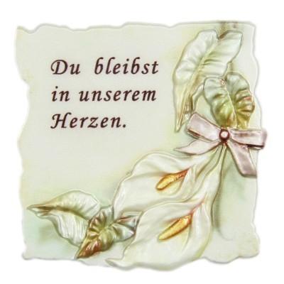 """Wachsornament Trauer, """"Du bleibst in unserem Herzen"""", 7x7cm"""