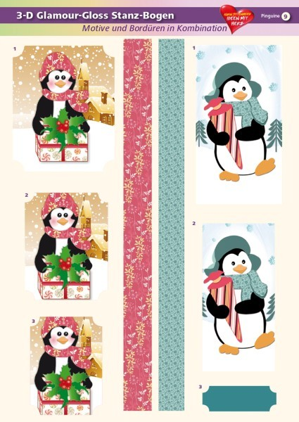 3-D GlamourGloss Bogen, Pinguine, DIN A4, Motiv 9