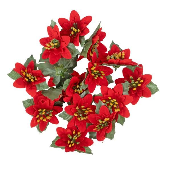 Deko-Blüten Weihnachtsstern 1, Ø 8cm, rot mit grünen Blättern, 15 Stück