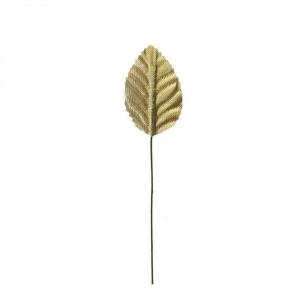 Deko-Blätter am Draht, 4cm x 2,5cm, gold, 20 Stück
