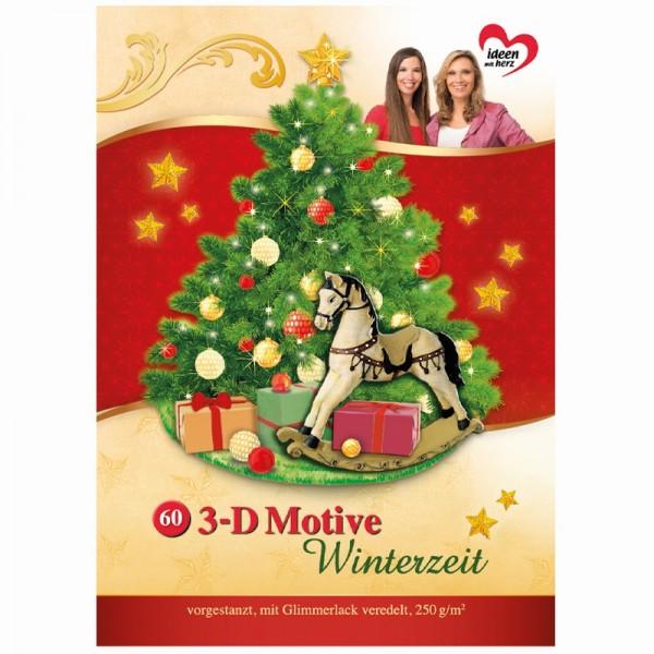 3-D Bastelbuch: Winterzeit 3-D Motive, 60 Motive auf 20 Stanzbogen, DIN A4