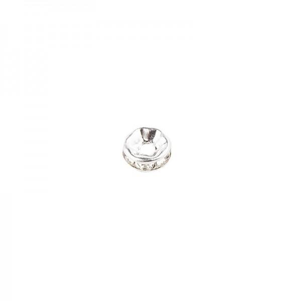 Strass-Rondell mit Strass-Steinen, Ø 6mm, 10 Stück, silber