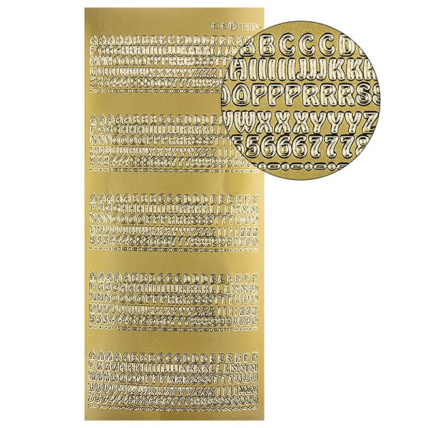 Sticker Buchstaben & Zahlen, gold