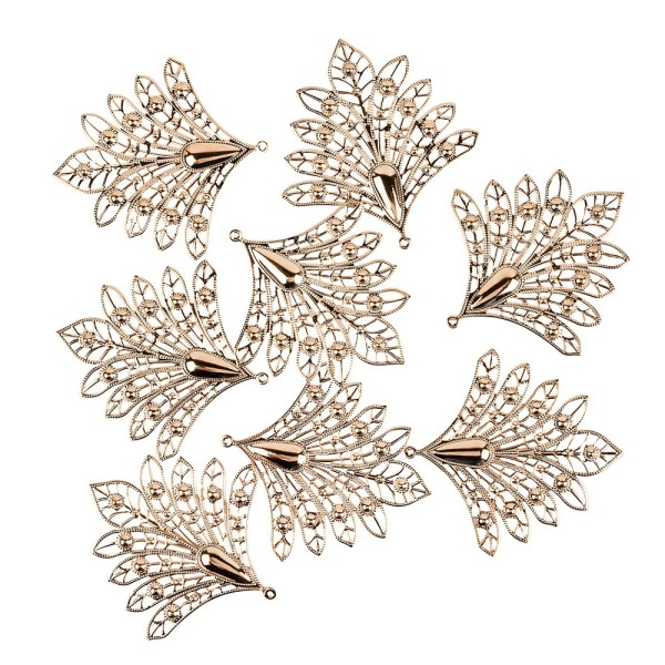 Metall-Ornamente, Design 4, 7,9 x 7,5 cm, roségold, 8 Stück