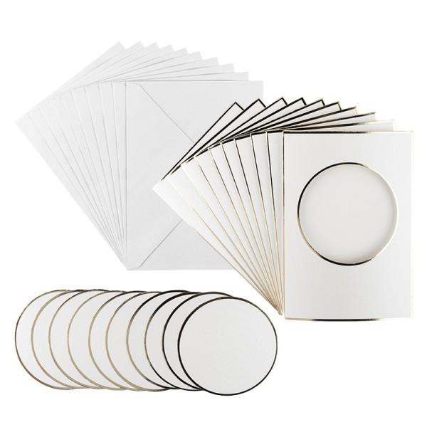 3-Fach Grußkarten, Passepartout Kreis, B6, Naturweiß, inkl. Umschläge, 10 Stück