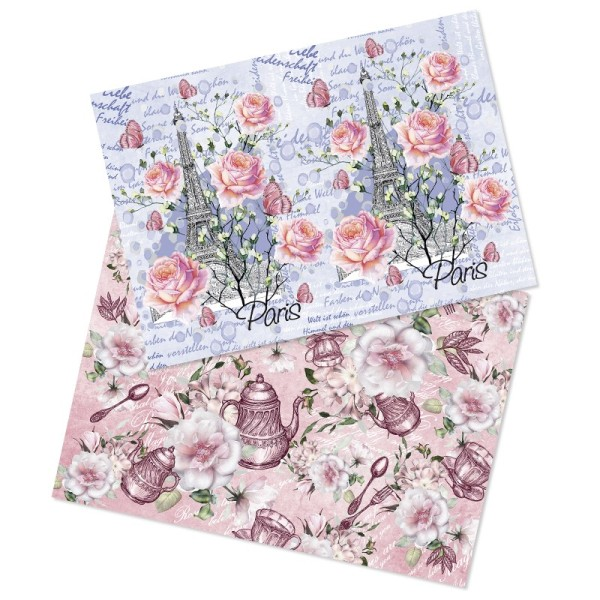 """Reispapiere, Nostalgie """"Blüten 4"""", DIN A4, 2 Designs"""
