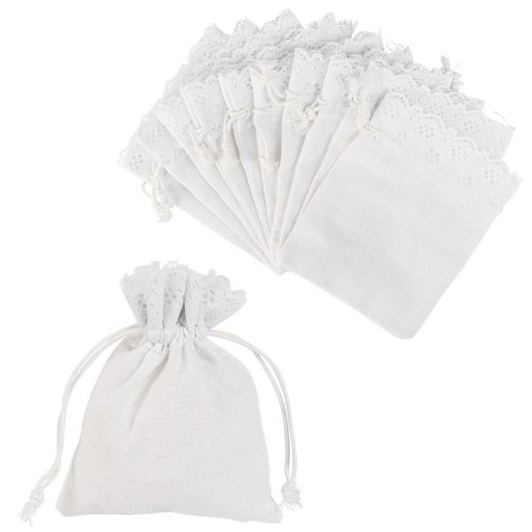 Stoffbeutel mit Zierspitze, 12cm x 14cm, weiß, feine Leinenstruktur, zum Zuziehen, 10 Stück