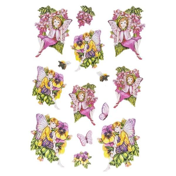 3-D Relief-Sticker, Zauberhafte Elfen 3, 21cm x 30cm, verschiedene Größen, selbstklebend