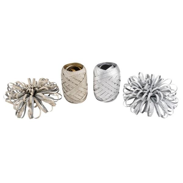 Geschenkband- & Schleifen-Mix, diamantiert, je 2 Schleifen & Geschenkbänder, silber & gold