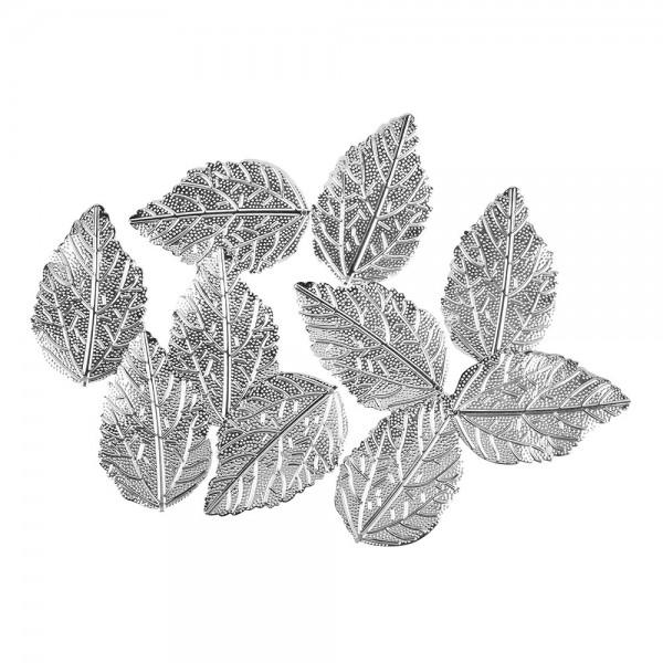 Metall-Ornamente, Blatt 3, 5,5cm x 3,5cm, silber, 10 Stück