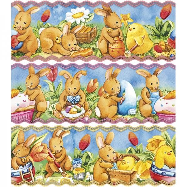 """Zauberfolien """"Fröhliche Häschen"""", Schrumpffolien für Eier mit 10cm x 7,5cm, 9,3cm hoch, 6 Stück"""