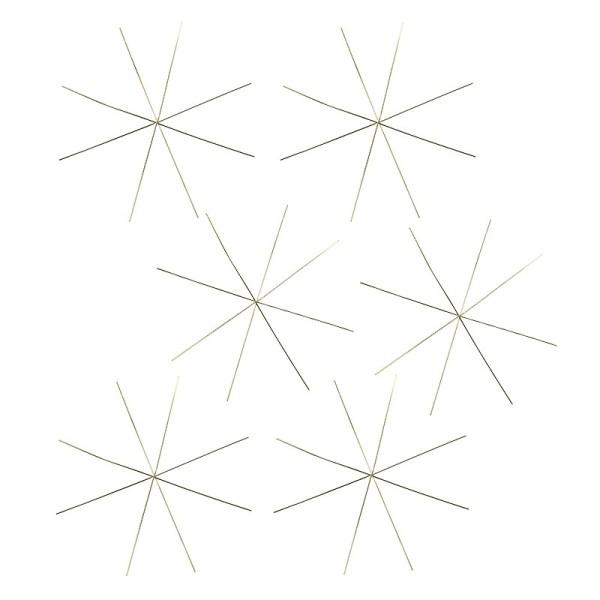 Drahtsterne, Ø 10cm, 8-strahlig, hellgold, 6 Stück