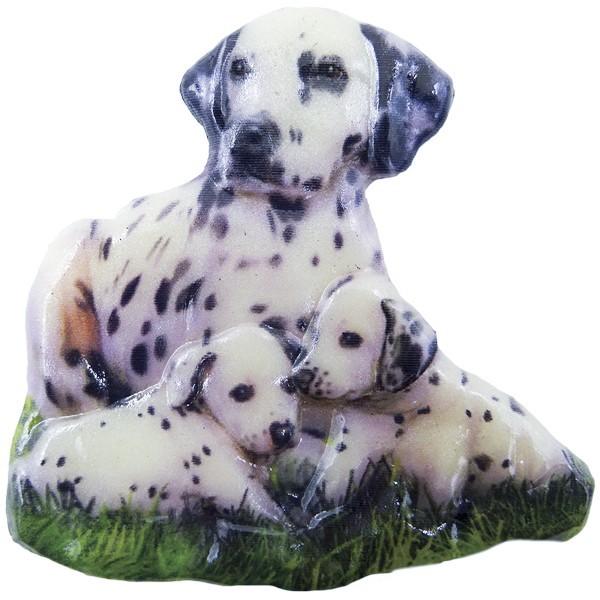 Wachsornament Hunde 6, farbig, geprägt, 7cm