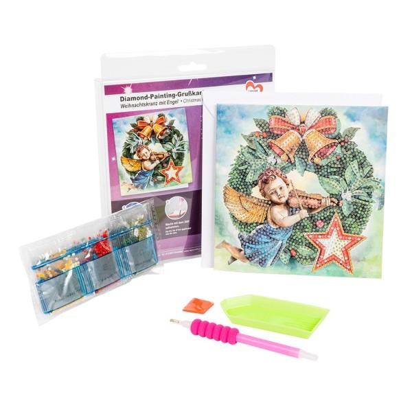 Diamond-Painting-Grußkarte, Weihnachtskranz mit Engel, 16cm x 16cm, inkl. Umschlag & Werkzeug