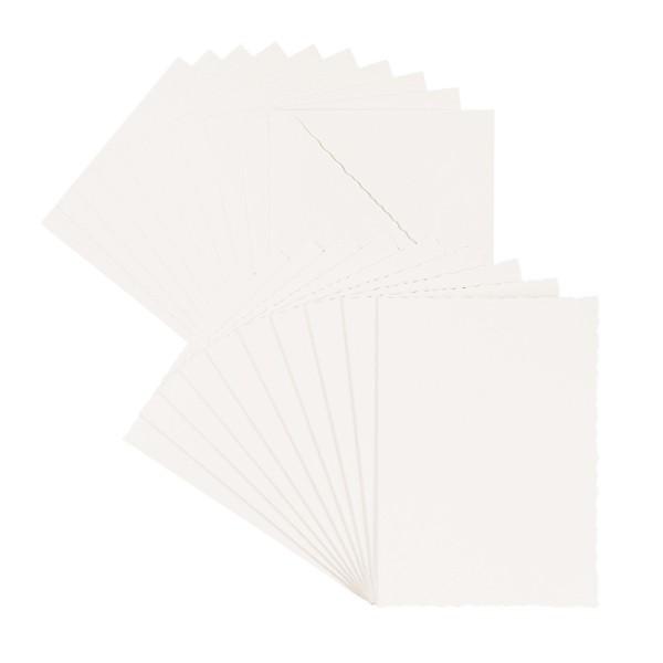 Grußkarten, Bütten-Optik, 10,5cm x 14,5cm, 300g/m², ecru, inkl. Umschläge, 10 Stück
