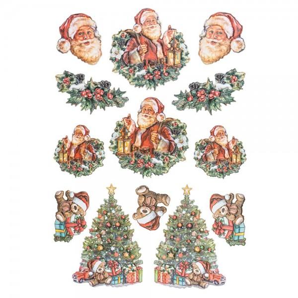 3-D Relief-Sticker, Nostalgie-Weihnachten 1, versch. Größen, selbstklebend